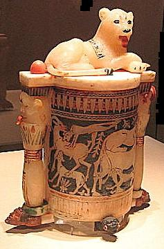 Alabaster jar with lion