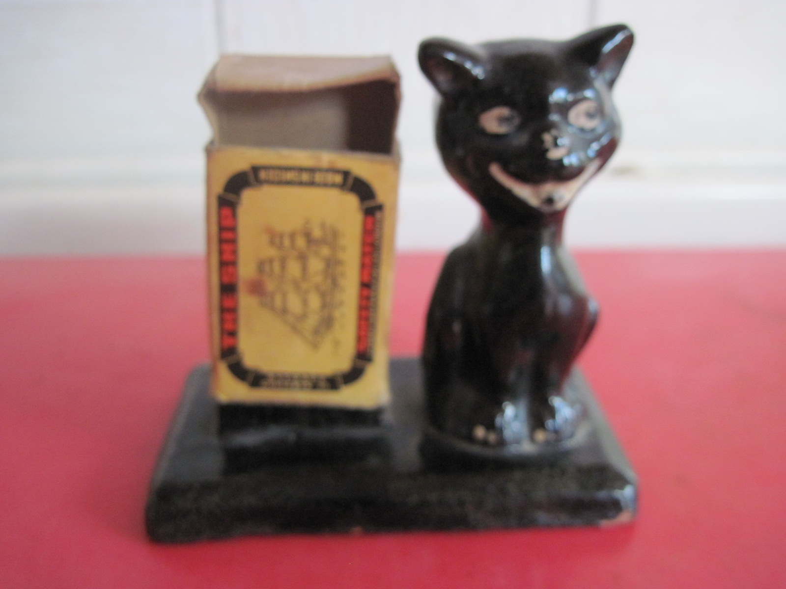 Black cat match holder